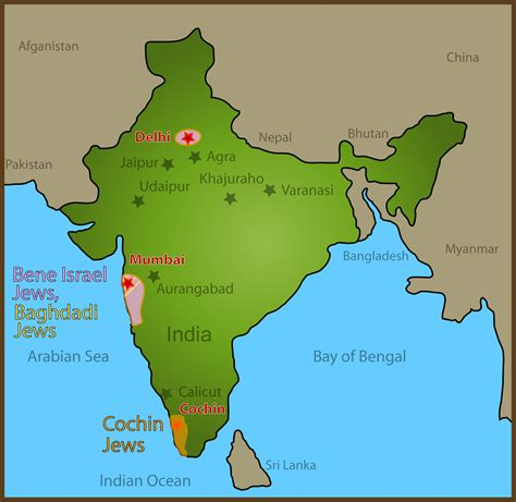 map  jewish sites visited  india global travel