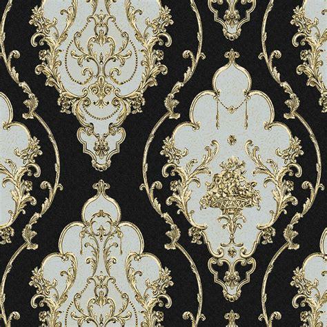 luxury heavy texture victorian damask wallpaper blackgold