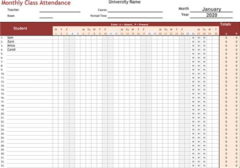 attendance tracking templates  excel trackers  calendars