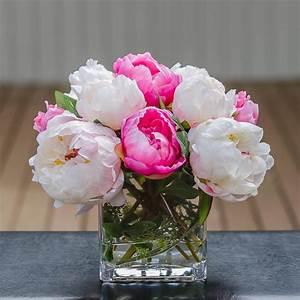 Silk White Light Pink Touched Peony Arrangement – Flovery