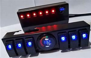 12v  24v 5 Gang Dual Led Breaker Rocker Switch Panel Car