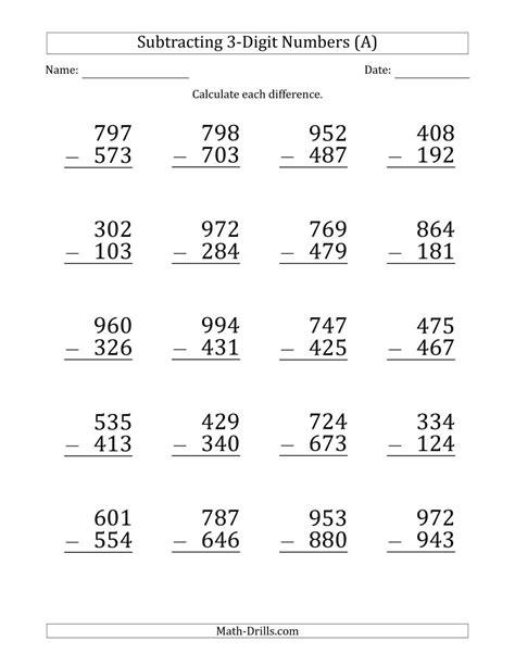 large print 3 digit minus 3 digit subtraction a