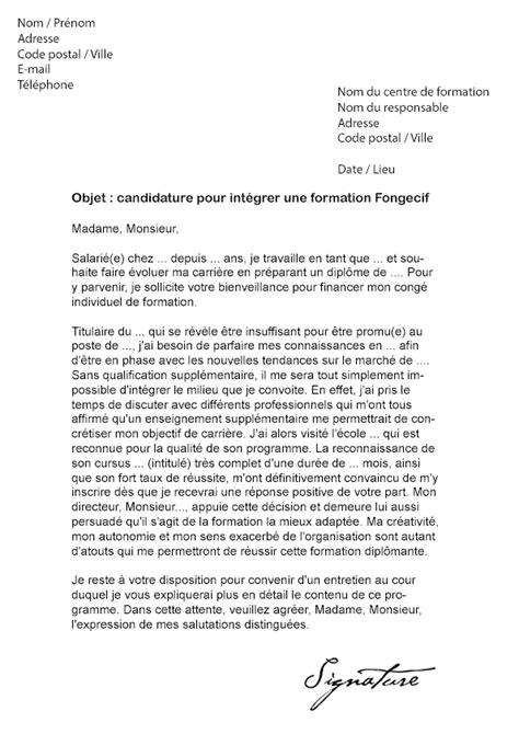 lettre de motivation reconversion professionnelle modèle modele lettre de motivation fongecif reconversion