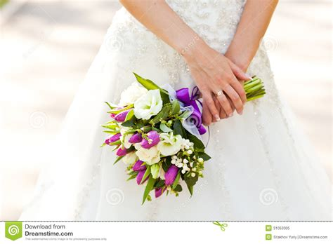 closeup  brides flowers  wedding day stock image