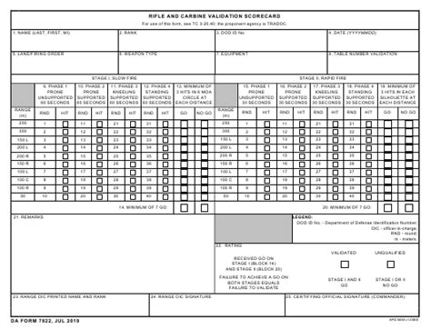Da Form 7822 Download Fillable Pdf Or Fill Online Rifle