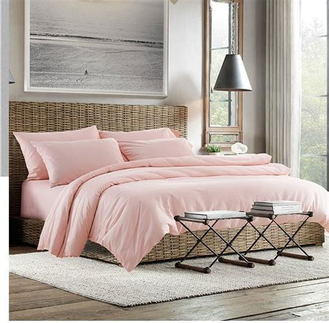 2015 100% Egyptian Cotton Light Pink Bedding Set Sheets