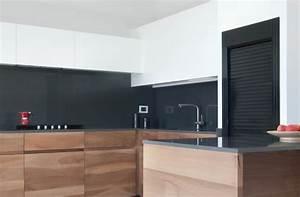 plan de travail cuisine moderne en pierre et bois With cuisine avec plan de travail en bois