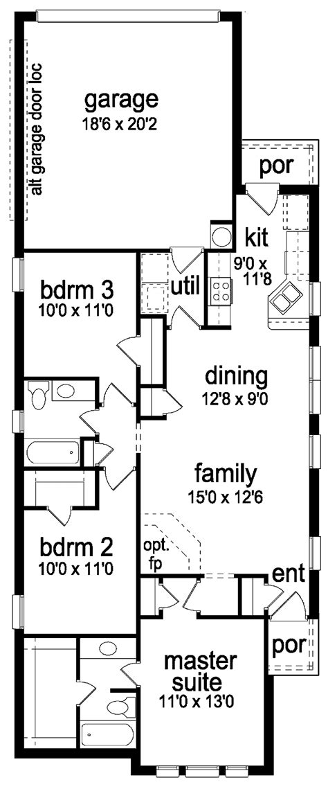 Narrow House Plans Cottage Thin Best Small Modern Lot