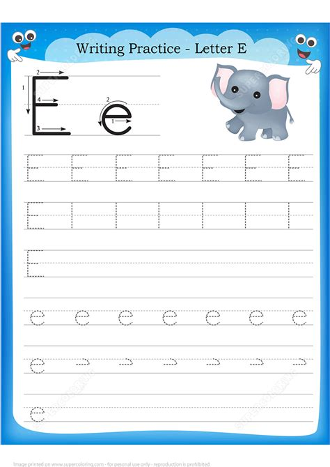 letter    elephant handwriting practice worksheet