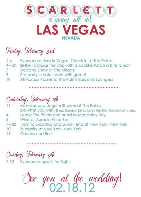 Bachelorette Weekend Itinerary By Oohlalovely On Etsy 22 Even The Colors Match Custom Vegas Bachelorette