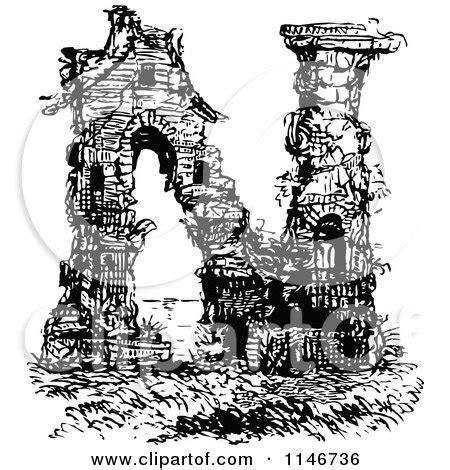 Clipart Illustration Wall Ancient Ruins Top