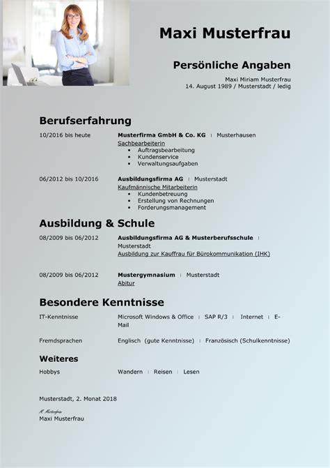 Kurzbiographie Muster by Tabellarischer Lebenslauf Vorlage Kostenlose Muster Zum