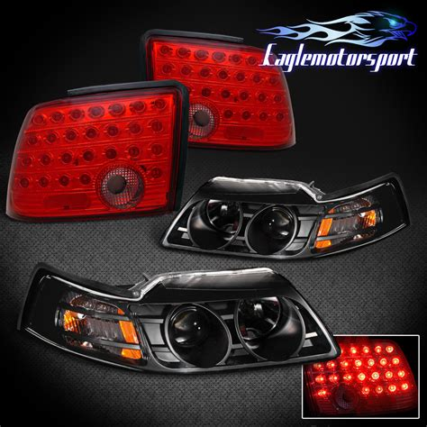 2004 mustang tail lights 1999 2004 ford mustang black projector headlights red