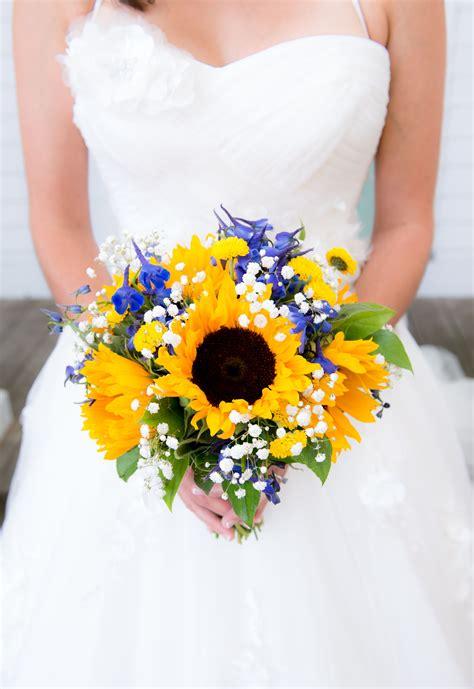 sunflower bridal bouquet  accents  royal blue