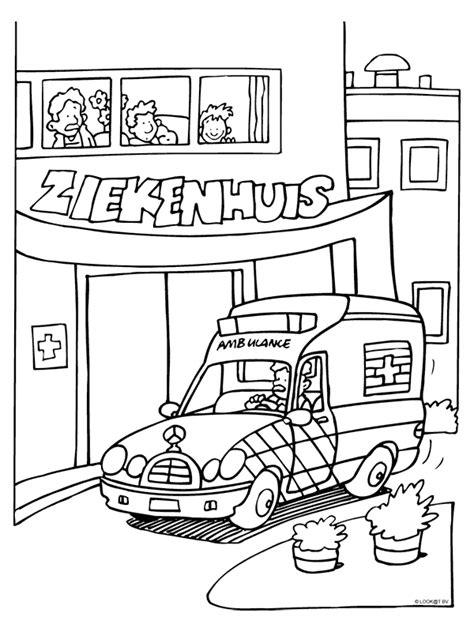 Kleurplaat Ambulance by Kleurplaat Ambulance Bij Ziekenhuis Kleurplaten Nl
