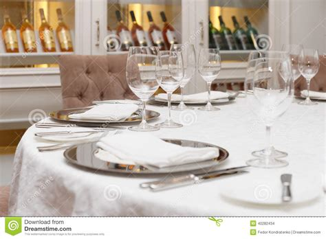 table haute cuisine table arrangement in an expensive restaurant stock photo