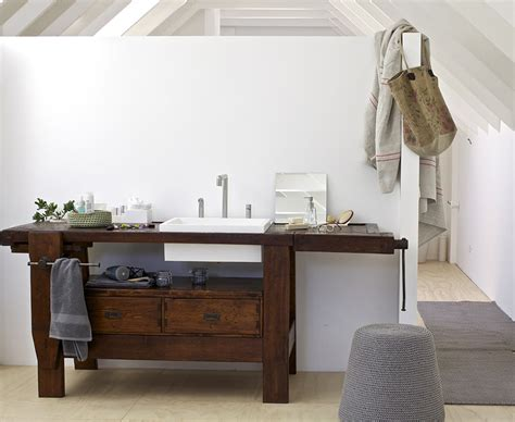 Old Carpenter Table Made into Bathroom Vanity by Rexa