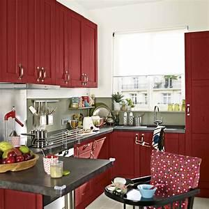 Meuble Cuisine Leroy Merlin : meuble de cuisine rouge delinia rubis leroy merlin ~ Melissatoandfro.com Idées de Décoration