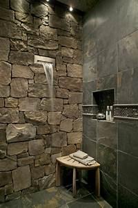 voici les plus belles salles de bain en 55 photos With salle de bain pierre