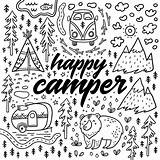 Coloring Camping Pages Camper Happy Colouring Drawn Hand Illustration Sheets Adult Rv Fun Vector Theme Bobcat Lynx Ink Adults Funny sketch template