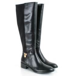 womens boots knee high black michael kors black hamilton stretch s knee high boot michael kors from daniel footwear uk