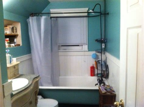 new shower shower surround and shower curtain added to
