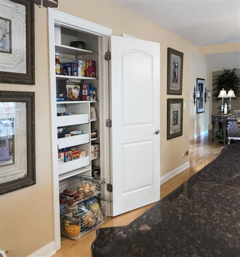 Long, Narrow Pantry with Pull Out Pantry Shelves Located