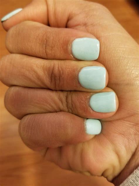 dip powder short nails light blue manicuresnails
