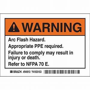 brady part el 1 94913 warning arc flash hazard With arc flash warning stickers