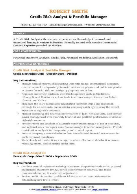 Portfolio Risk Management Resume by Credit Risk Analyst Resume Sles Qwikresume