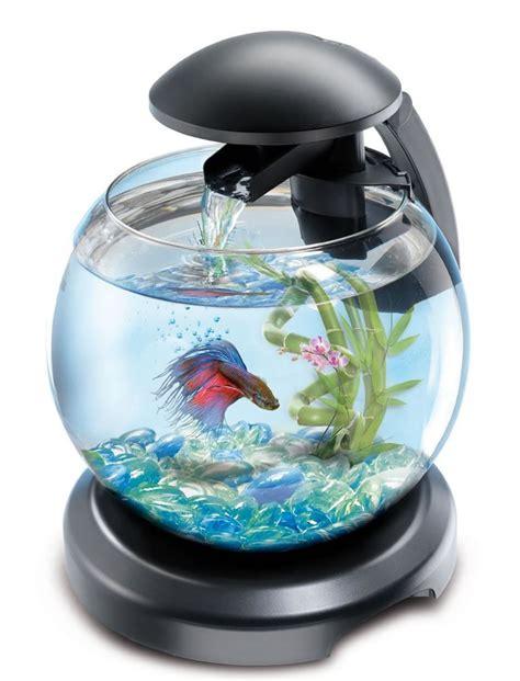 tetra cascade globe glass fish tank with led light filter bowl aquarium black ebay