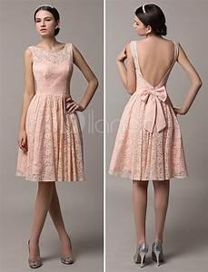 robe demoiselle d39honneur en dentelle rose avec noeud dos With robe demoiselle d honneur dentelle