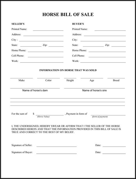 horse bill  sale form