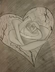 Broken Hearts and Roses Drawings