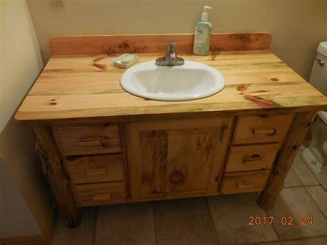 hand  knotty pine bathroom vanity  harrys cabin