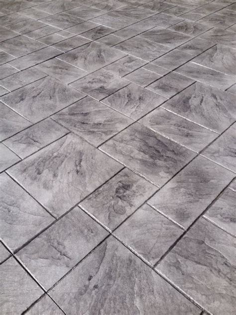 large ashler grey color stamped concrete patterns