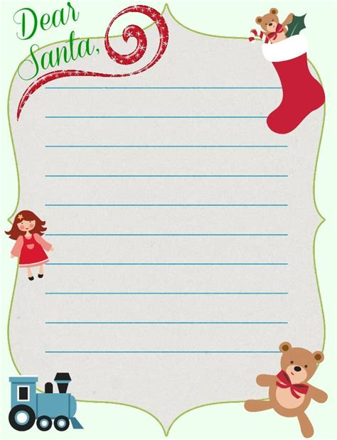 christmas printable santa letter template  today