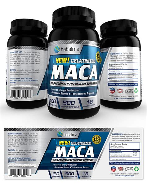 product label templates maca root supplement label template