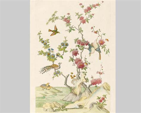 papier peint panoramique dessin doiseaux chinois