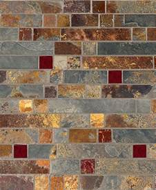 subway kitchen backsplash gold slate burgundy glass mosaic backsplash tile