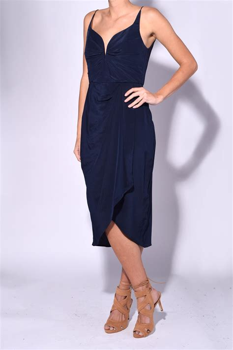 zimmerman silk drape dress zimmermann silk drape dress in navy in blue lyst