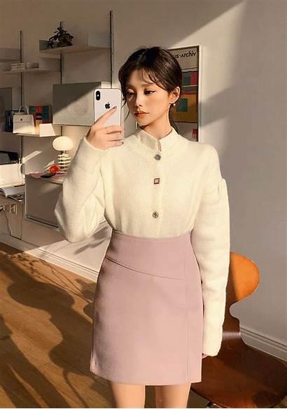 Tik Tok Skirt Trim Wool Cardigan Chuu