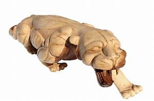 tiger hand carved in acacia wood
