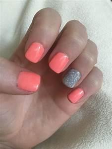 Nail Designs Dip Powder Neon Sparkle Silver And Coral Nexgen Nail Dip Acrylic