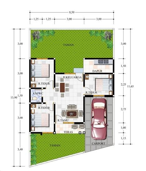 denah rumah type   kamar