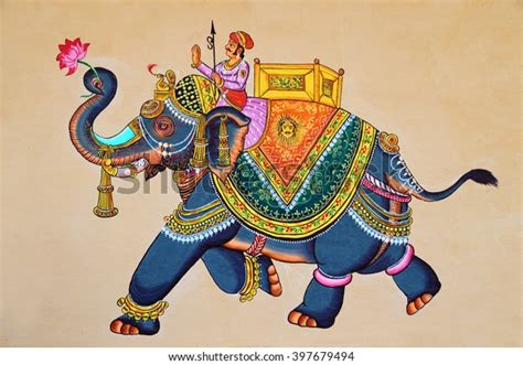 traditional indian rajasthani wall painting elephant stock