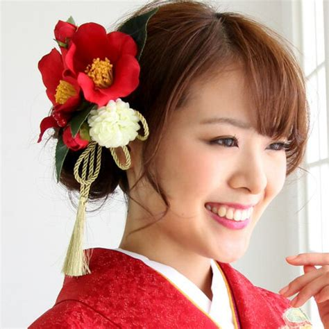 wanadesiko long sleeved kimono hair ornament red