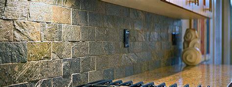 Slate Stone Backsplash : Subway Quartzite Slate Backsplash Tile Idea