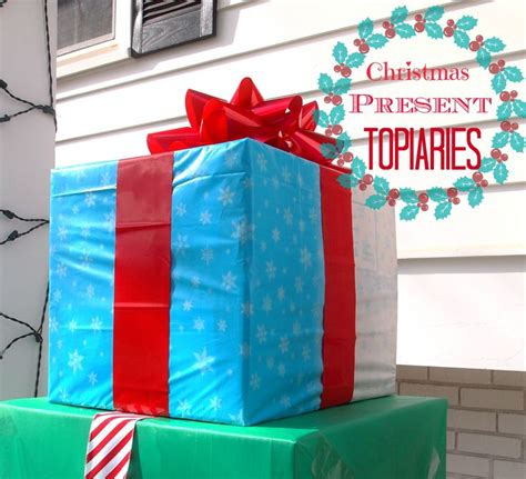 outdoor christmas present topiary