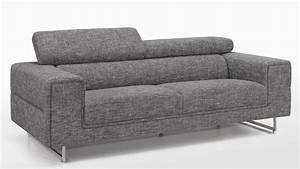 Canapé 3 Places Gris : canap moderne 3 places tissu gris avec t ti res ken ~ Teatrodelosmanantiales.com Idées de Décoration